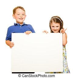 2, 隔離された, 肖像画, 白, 子供, 幸せ