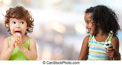 2, 面白い, 子供, 女の子, 食べること, アイスクリーム