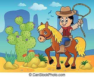2, 馬, 主題, 圖像, 牛仔