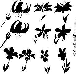 2, 黑色半面畫像, 矢量, 花