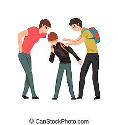 2, 더 낡았다, 소년, 비웃는 것, 연하의 사람, 충돌, 사이의, 아이들, 조롱, 와..., 괴롭히는 것,...