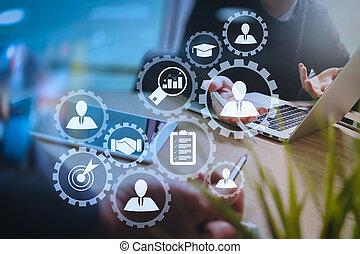 2, 동료, 웹 디자이너, 토론, 자료, 와..., 디지털 알약, 와..., 컴퓨터, 휴대용 퍼스널 컴퓨터,...