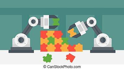 2, 로봇식의 팔, 건물, a, 다채로운, puzzle.