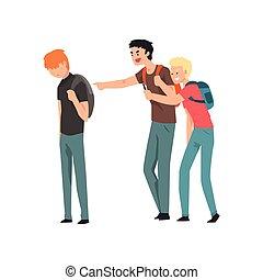 2, 비탄, 학생, 괴롭히는 것, 또 하나의, 에, 학교, 충돌, 사이의, 틴에이저, 조롱, 와...,...