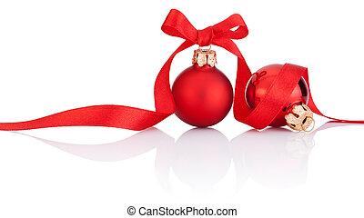 2, 빨강, 크리스마스, 공, 와, 리본, 활, 고립된, 백색 위에서, 배경