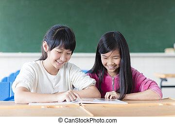 2, 십대 소녀, 학생, 공부하다, 에서, 교실
