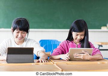 2, 십대 소녀, 학생, 봄, 그만큼, 정제, 에서, 교실