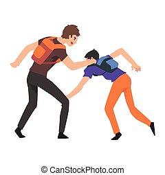 2, 열대의 소년, 소년, 싸움, 충돌, 사이의, 틴에이저, 조롱, 와..., 괴롭히는 것, 에, 학교,...