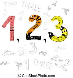 2, 3, 数, 1