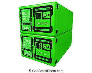 #2, 3d, verde, servidor