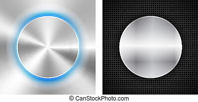 2 Abstract backgrounds with circle metallic inset