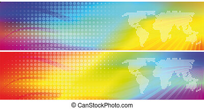 2 abstract colorful headers, illustration