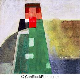 #2, abstraktní, věž, vodová barva