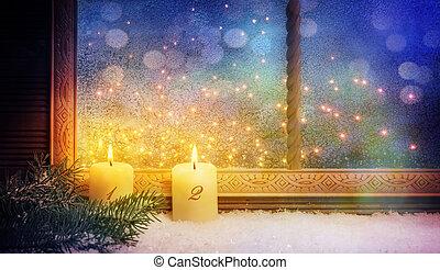 2., advent, fenster, dekorationen