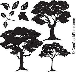 2, albero, foglie, vettore, silhouette