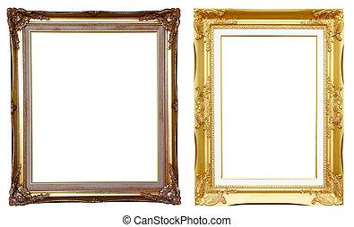 2 ancient golden frame on white