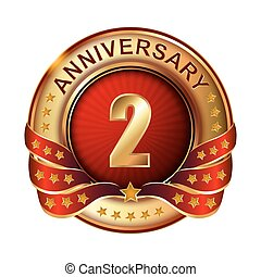 2 Anniversary golden label with ribbon.
