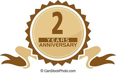 2, anos, fita, aniversário