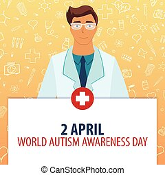 2 April. World Autism Awareness Day. Medical holiday. Vector medicine illustration.