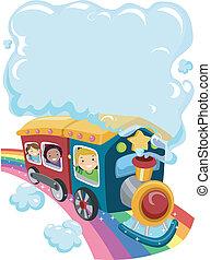 2, arcobaleno, treno, bambini