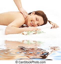 #2, areia, branca, massagem, feliz
