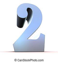 2, -, argent, nombre