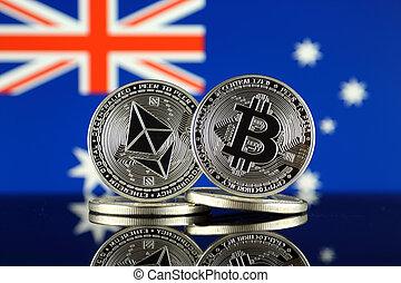 2, australia, términos, flag., (btc), bitcoin,...