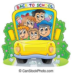 2, autocarro, escola, tema, imagem