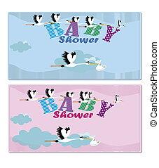 2 baby shower invitation blue, ros - baby shower invitation...