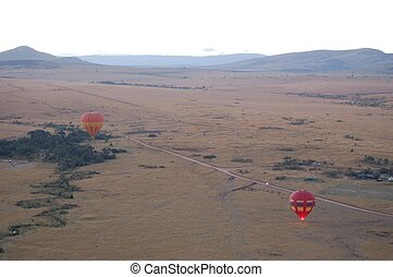 2 balloons after sun rise, Masai Mara, Kenya, Africa