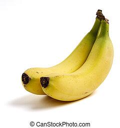 2 bananas on white background