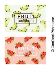 2, barwny, tło, owoce