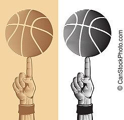 2, basket-ball, doigt, balle