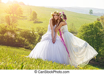 2 beautiful bride in the morning , the idyllic meadow , friendship symbol