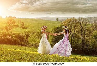 2 beautiful bride in the morning , the idyllic meadow ,...