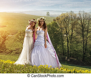 2 Beautiful bride in the outdoors - idyllic