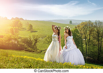 2 beautiful bride on a meadow in the early morning