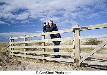 2, birdwatching, man