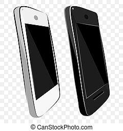 2, blanco, efecto, brillar, transparente, mano, bosquejo, empate, color, vector, plano de fondo, modelo, viejo, negro, plano, simple, smartphone