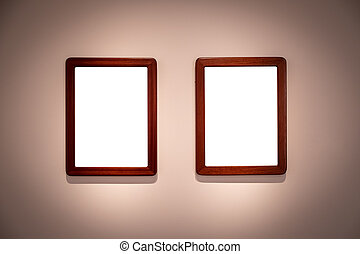 2 blank hanging individual frames in an art gallery museum exhibition template
