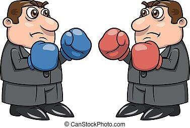 2, boks rękawiczki, dwa, biznesmeni