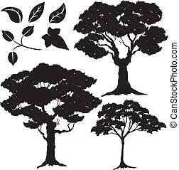 2, boompje, bladeren, vector, silhouette