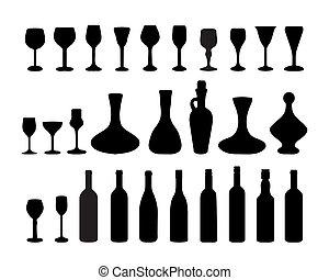 2, botellas, gafas vino