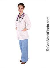 2, branca, mulher, isolado, doktor