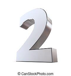 2, brilhante, número