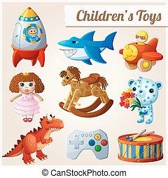 2, brinquedos, jogo, parte, crianças