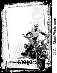 2, brudny, tło, motorower