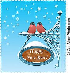 2 Bullfinches - Happy New Year Card.