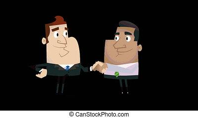 2 Business Cartoon Men Shaking Hands