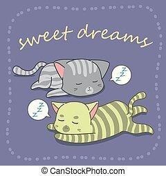 2, caricatura, gatos, style., dormir